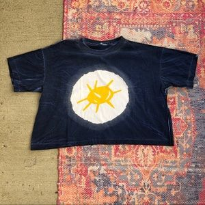 Vintage Sun graphic tie dye crop top t shirt